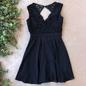 Lulu's Black Crochet Lace Fit & Flare Mini Dress